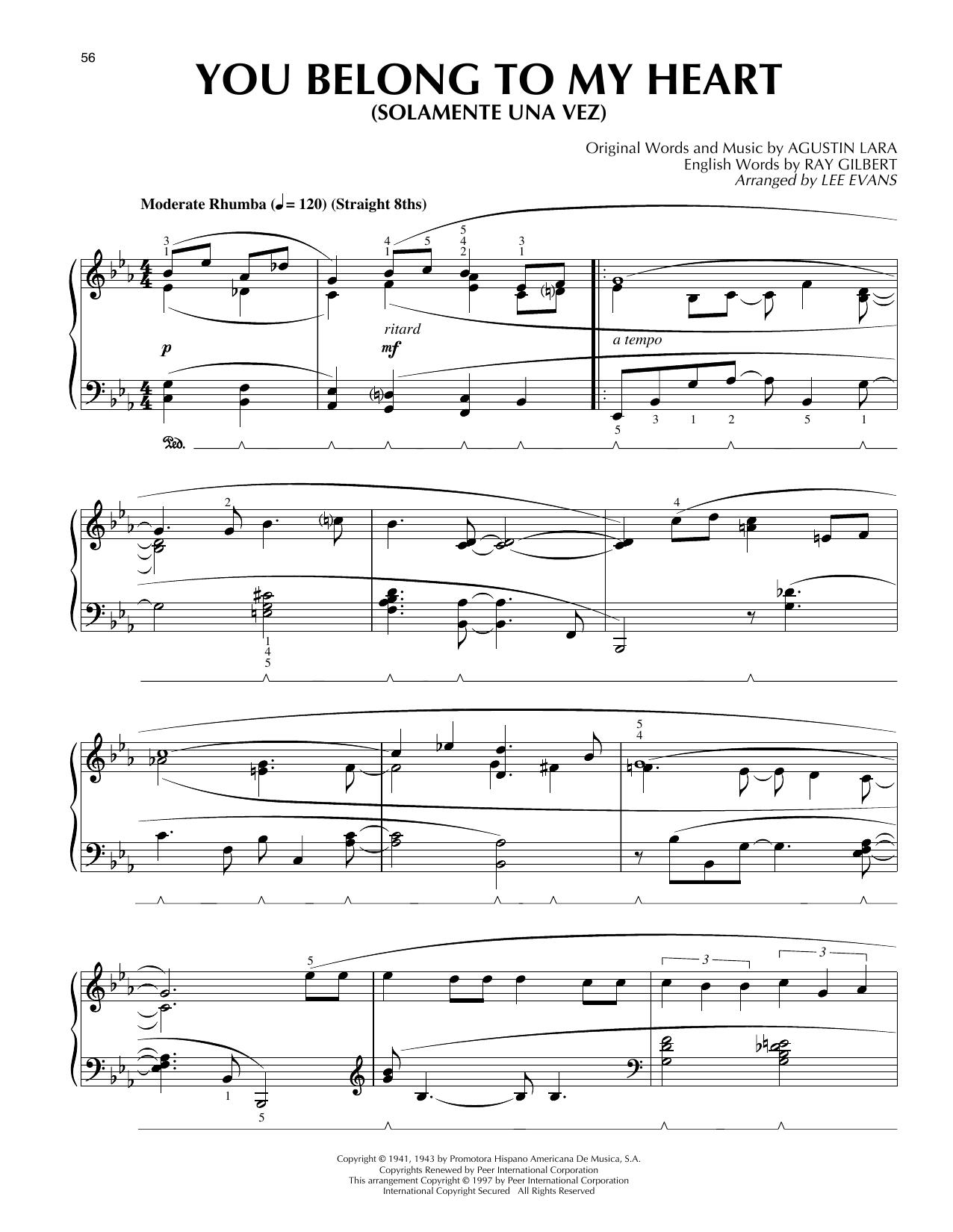 You Belong To My Heart (Solamente Una Vez) (arr. Lee Evans) (Piano Solo)