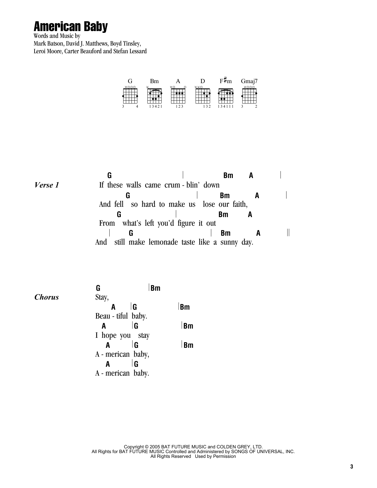 American baby sheet music by dave matthews band lyrics chords american baby sheet music hexwebz Choice Image