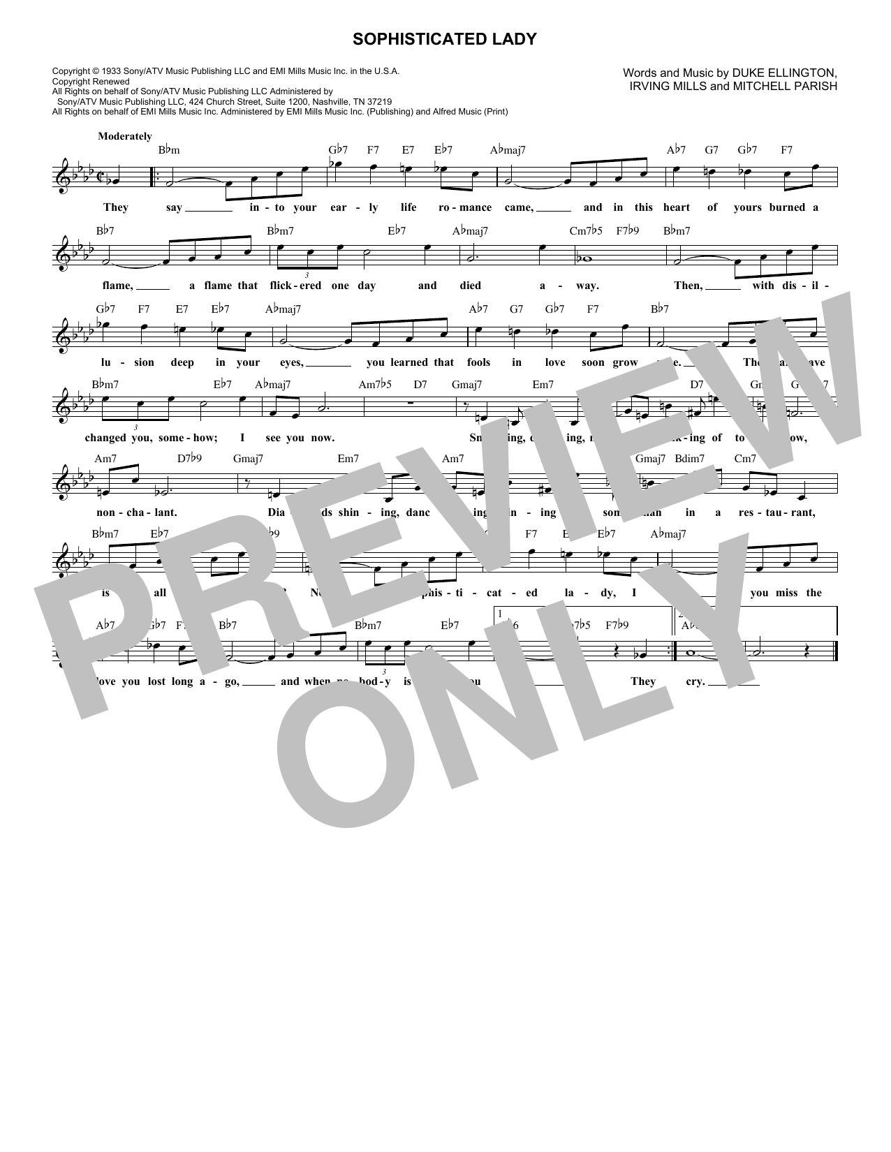 Sophisticated Lady (Lead Sheet / Fake Book)