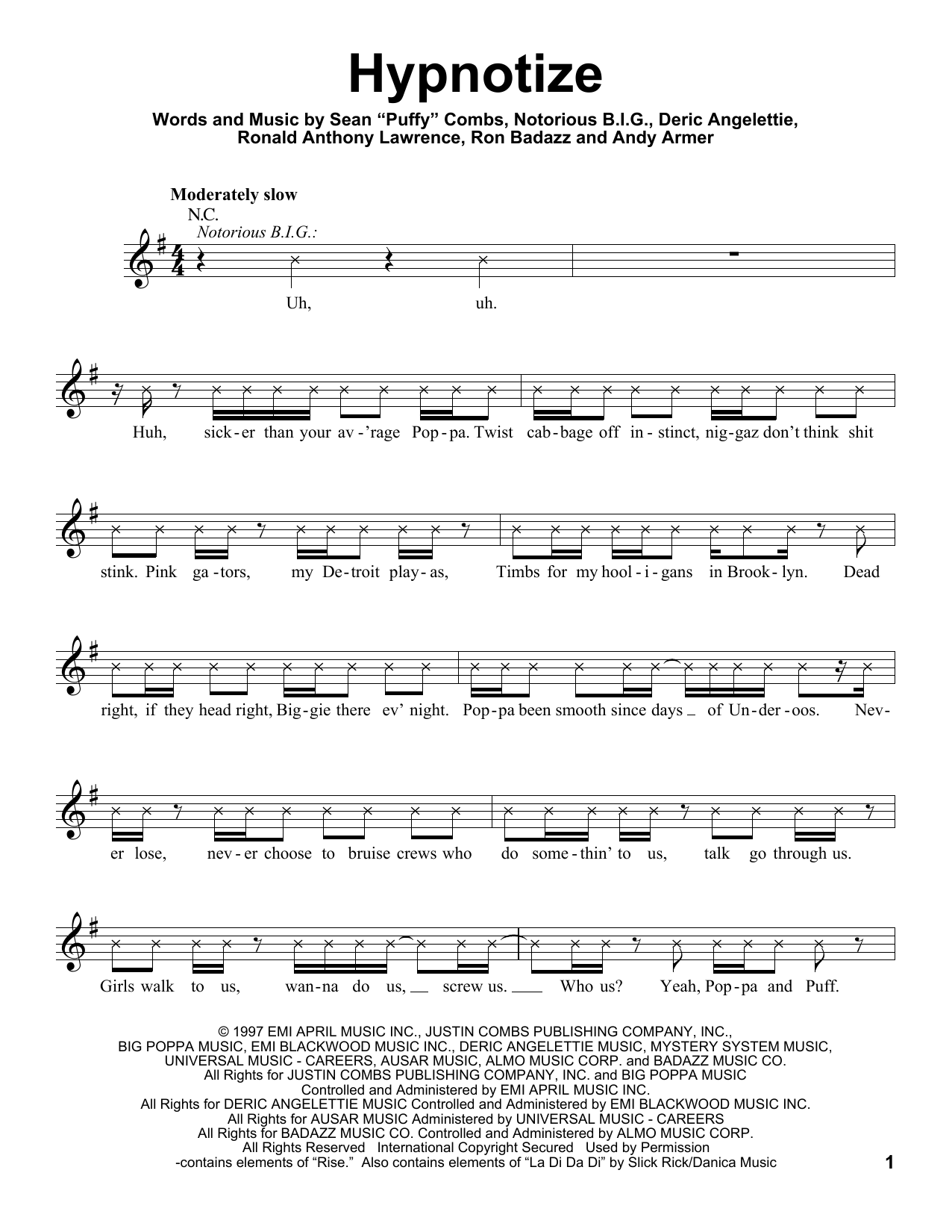 Hypnotize Sheet Music