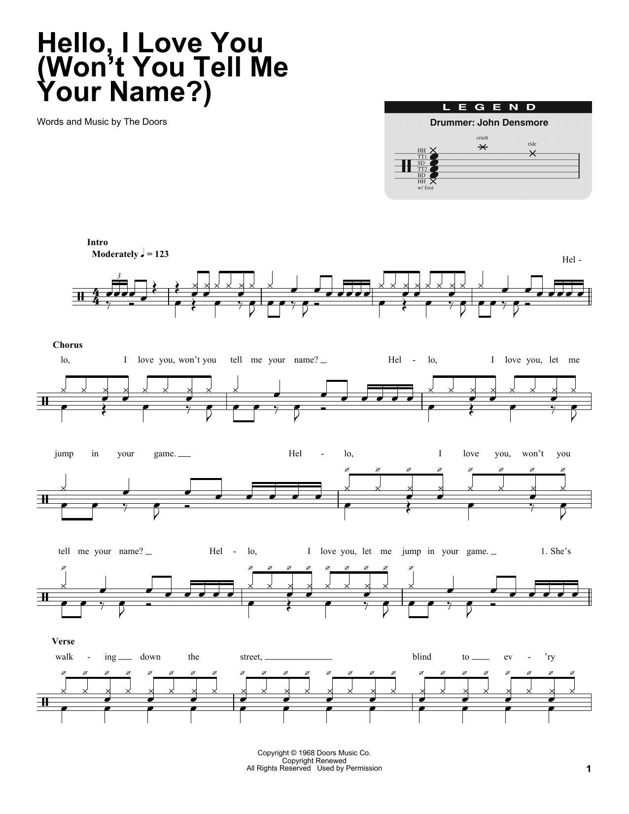 Hello, I Love You (Won't You Tell Me Your Name?) Sheet Music