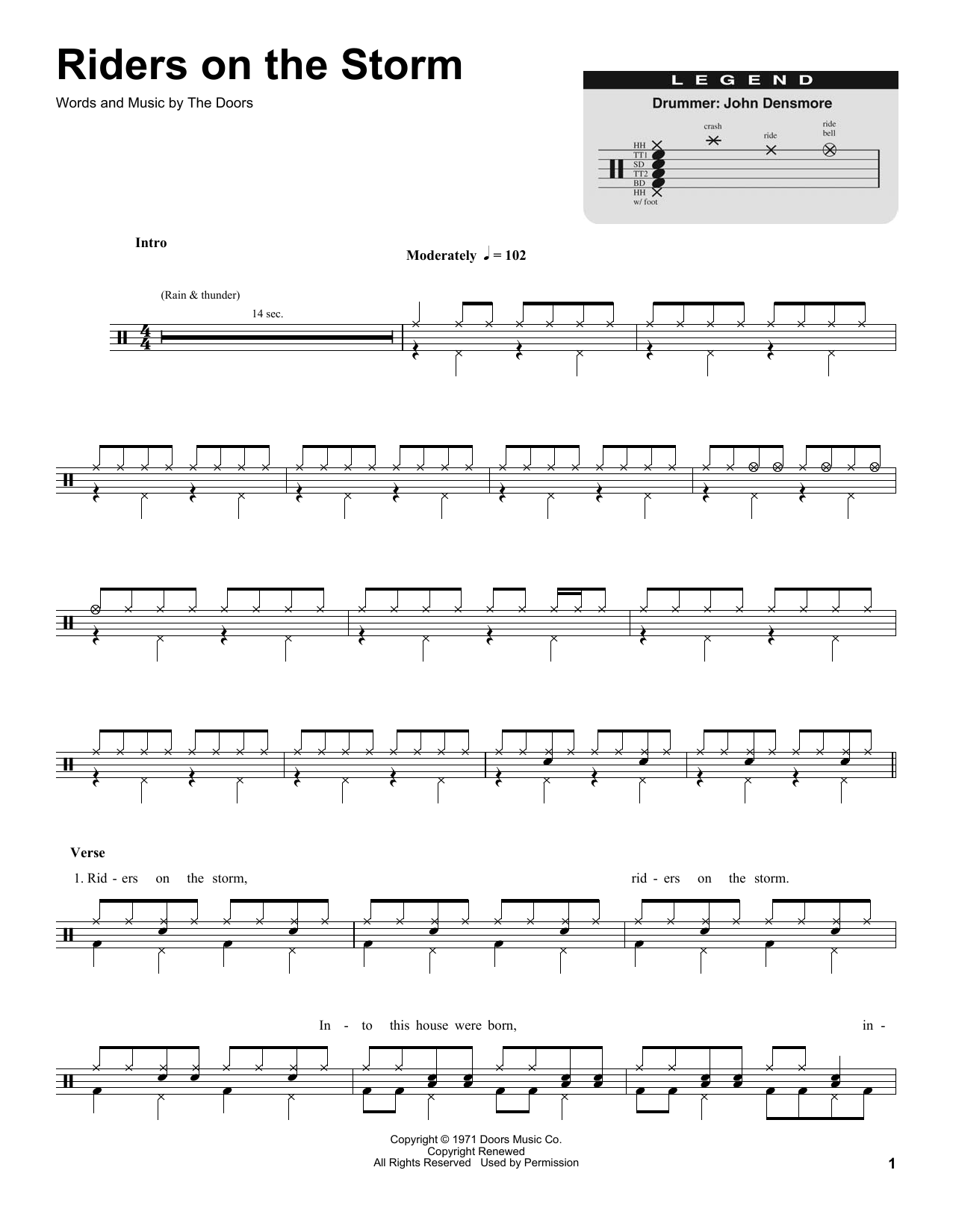 Riders On The Storm (Drums Transcription)