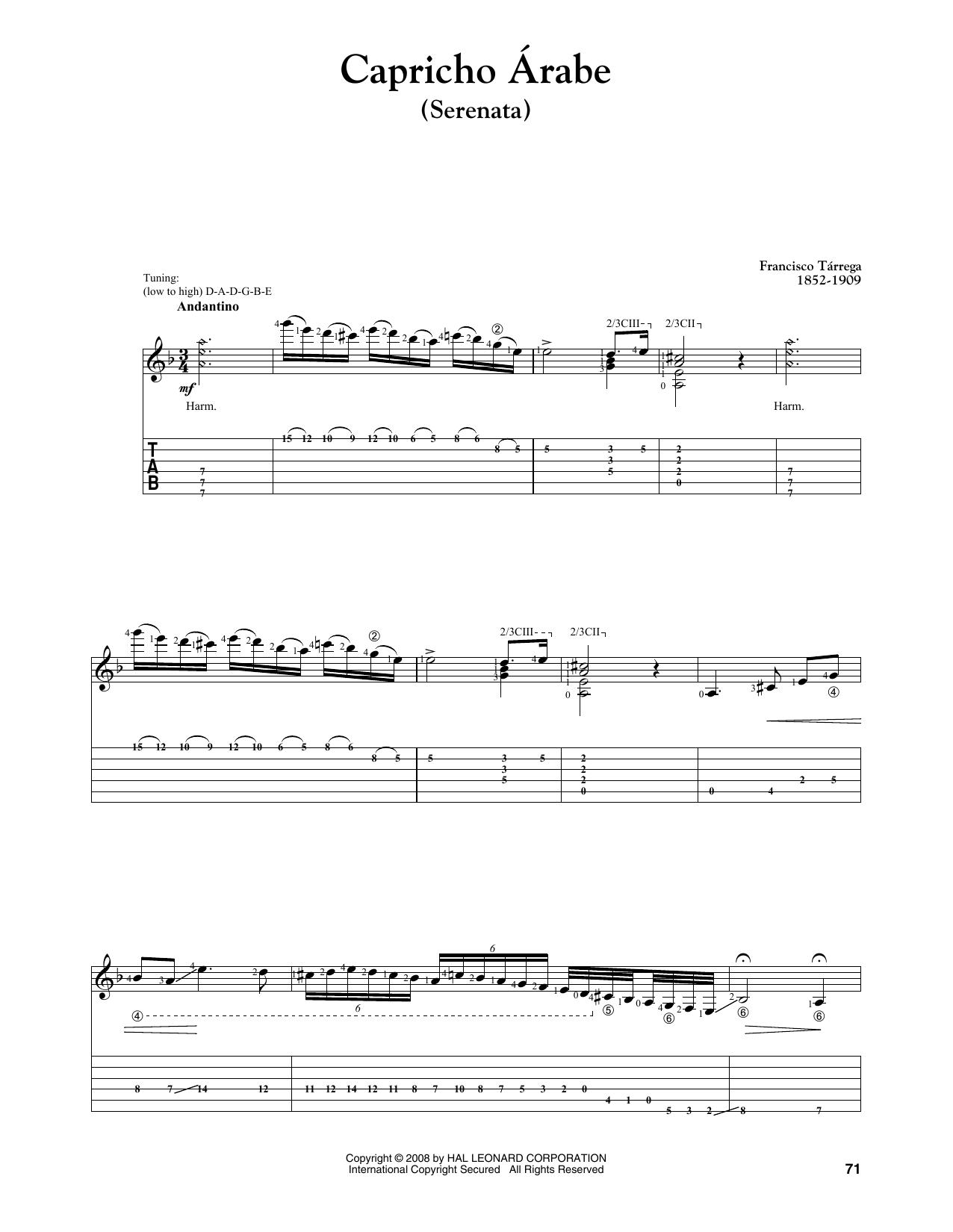 Capricho Arabe (Serenata) Sheet Music | Francisco Tarrega ...