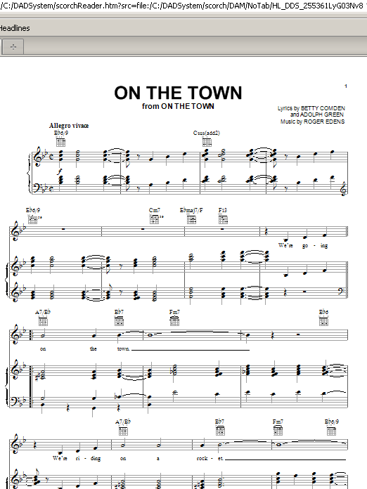 On The Town Sheet Music