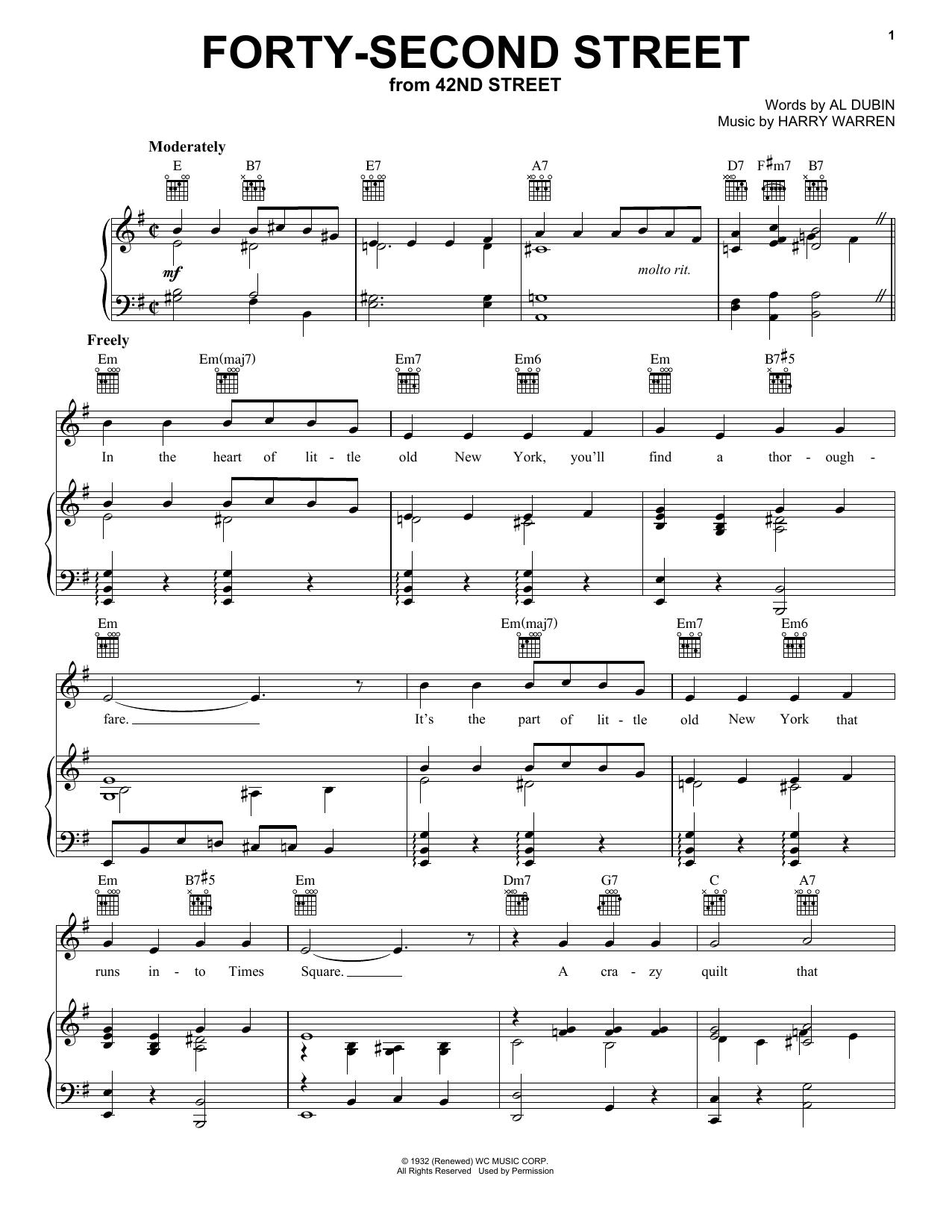 Partition piano Forty Second Street de Harry Warren - Piano Voix Guitare (Mélodie Main Droite)