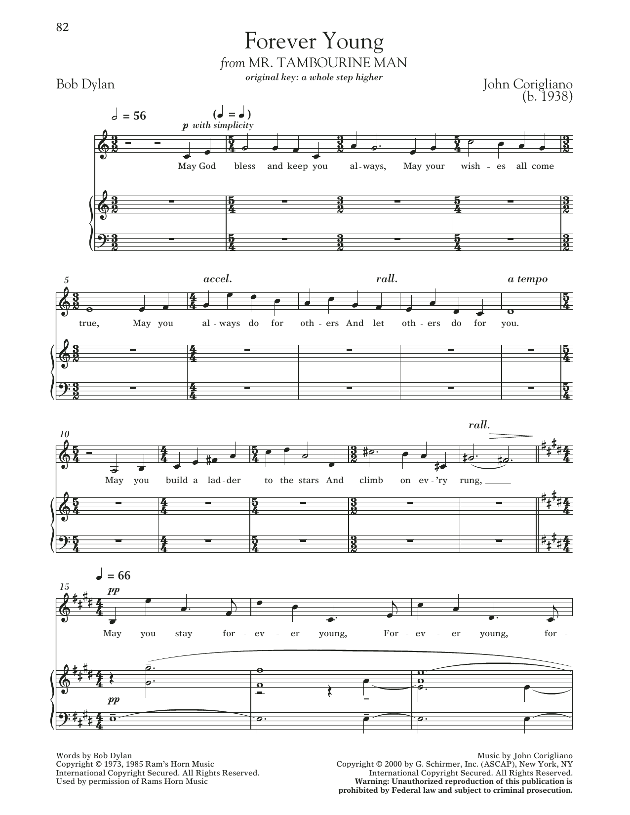 Forever Young (from 'Mr. Tambourine Man') Sheet Music