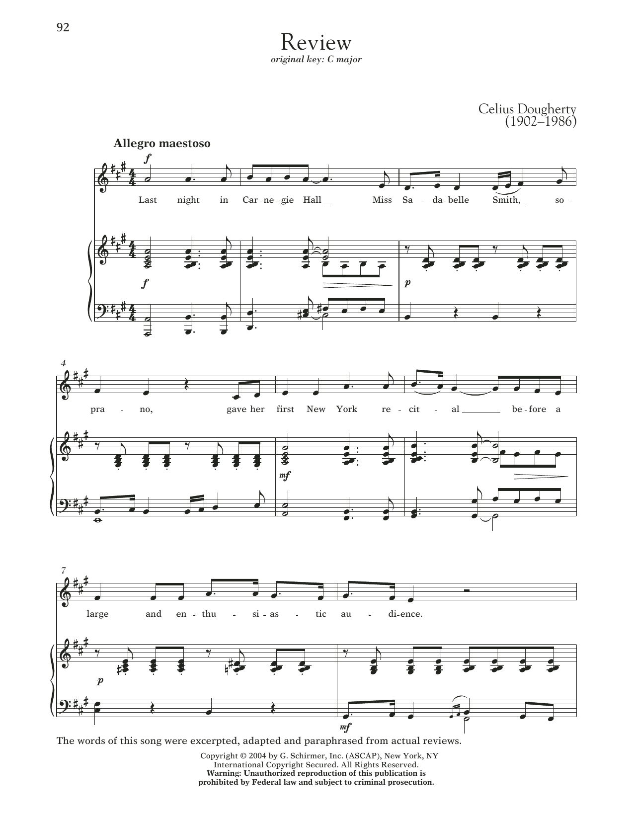 Review Sheet Music