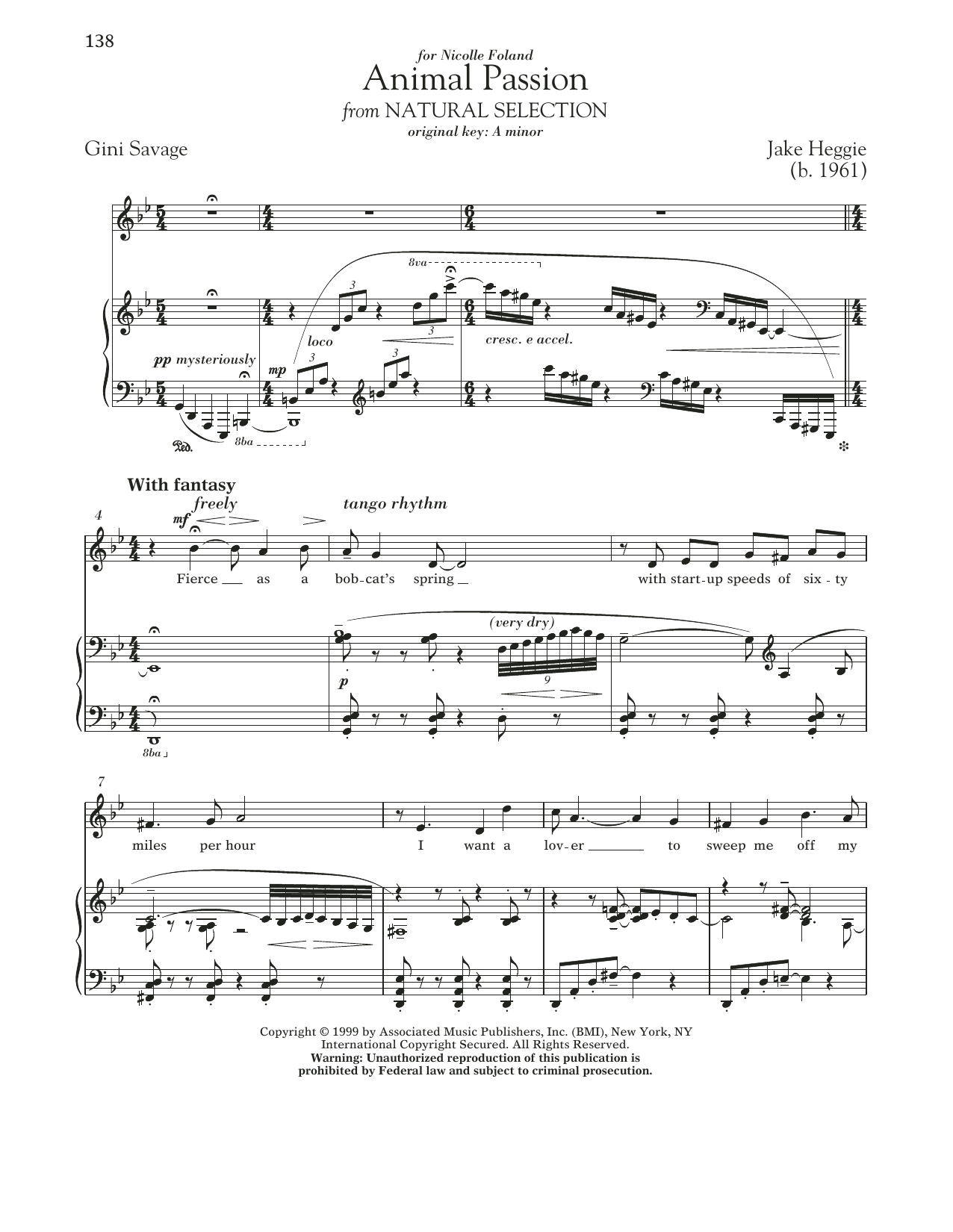 Animal Passion Sheet Music