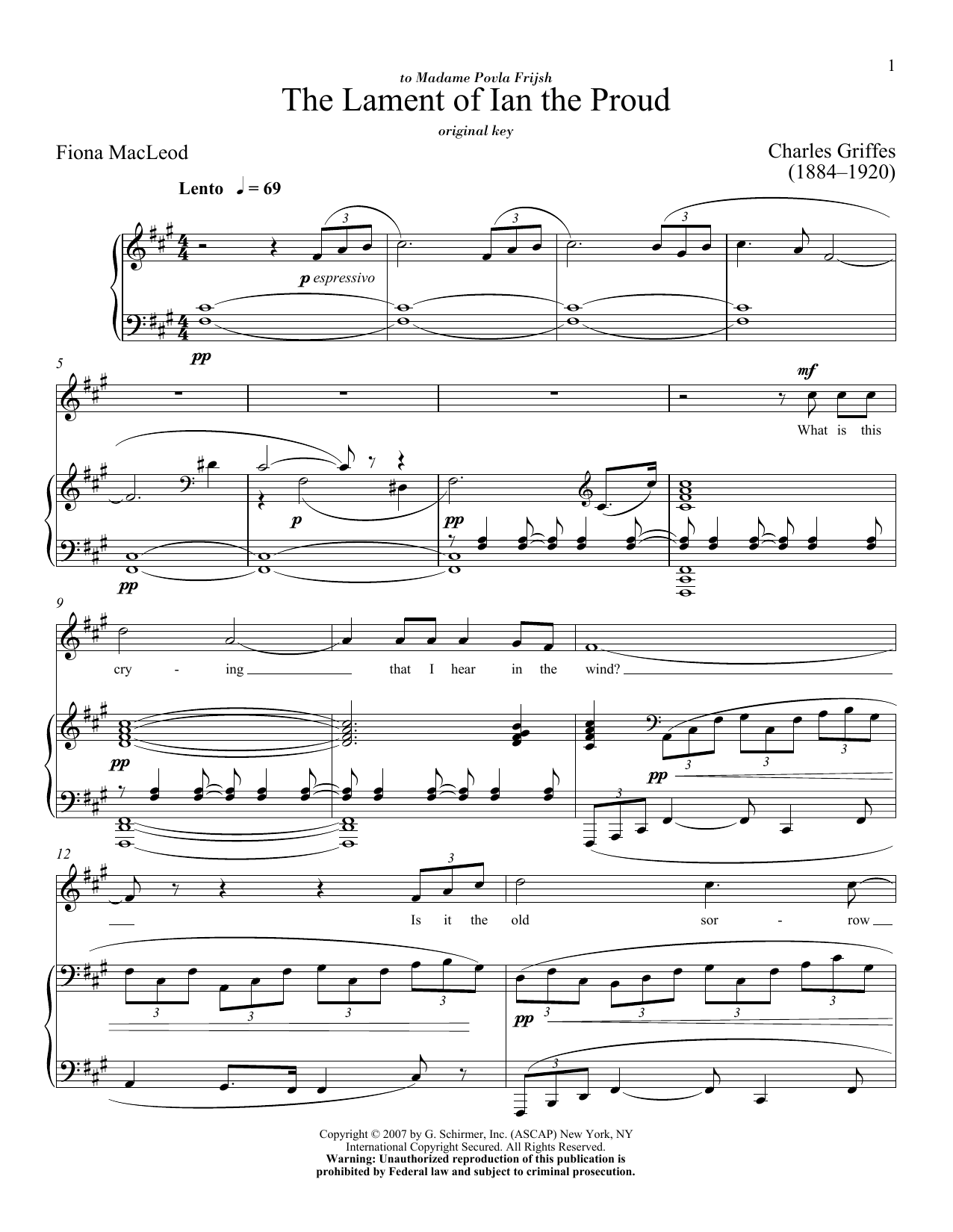 Partition piano The Lament Of Ian The Proud de Charles Griffes - Piano Voix