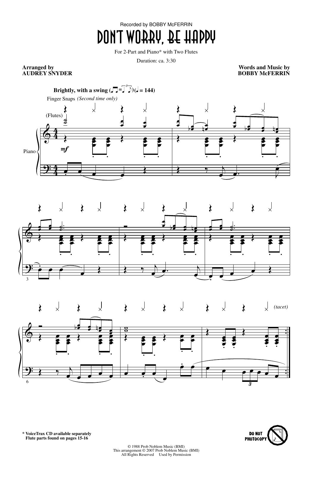Don't Worry, Be Happy (arr. Audrey Snyder) Sheet Music
