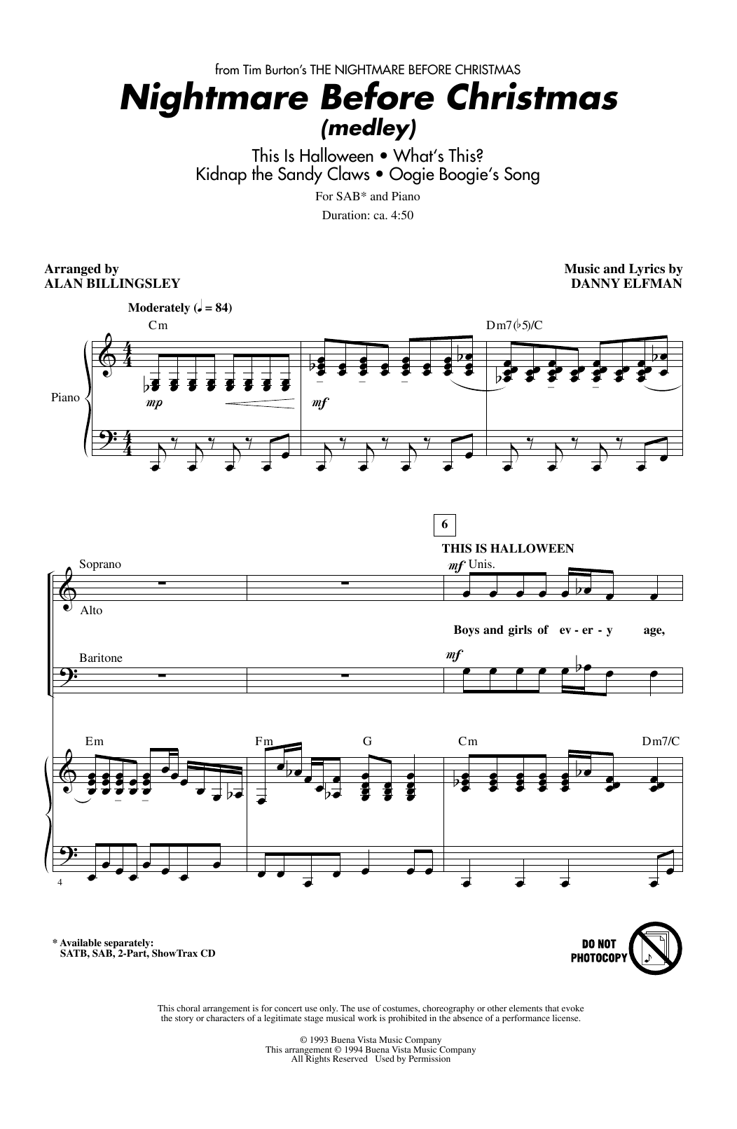 nightmare before christmas  medley  sheet music