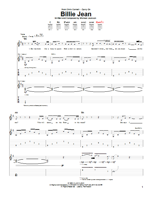 Tablature guitare Billie Jean de Chris Cornell - Tablature Guitare