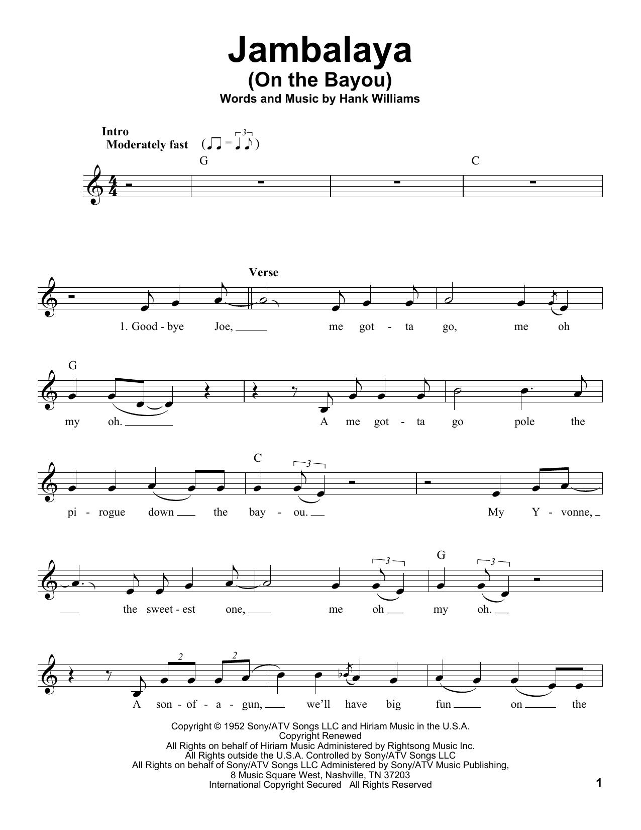 Jambalaya On The Bayou Sheet Music Hank Williams Voice