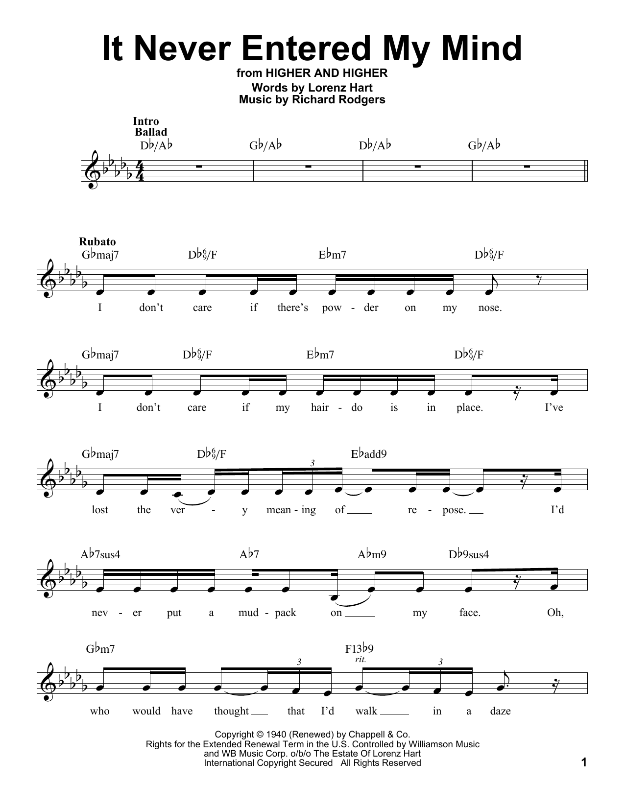 It Never Entered My Mind Sheet Music