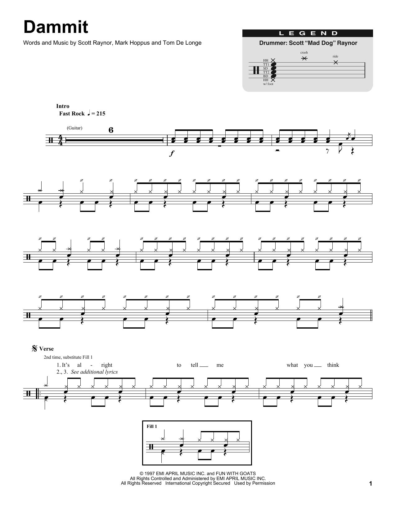 Dammit Sheet Music