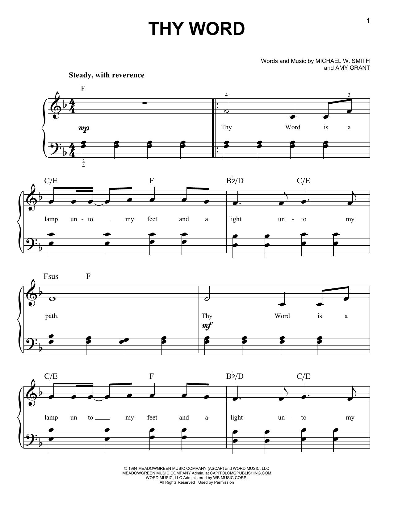 Thy Word (arr. Phillip Keveren) (Easy Piano)
