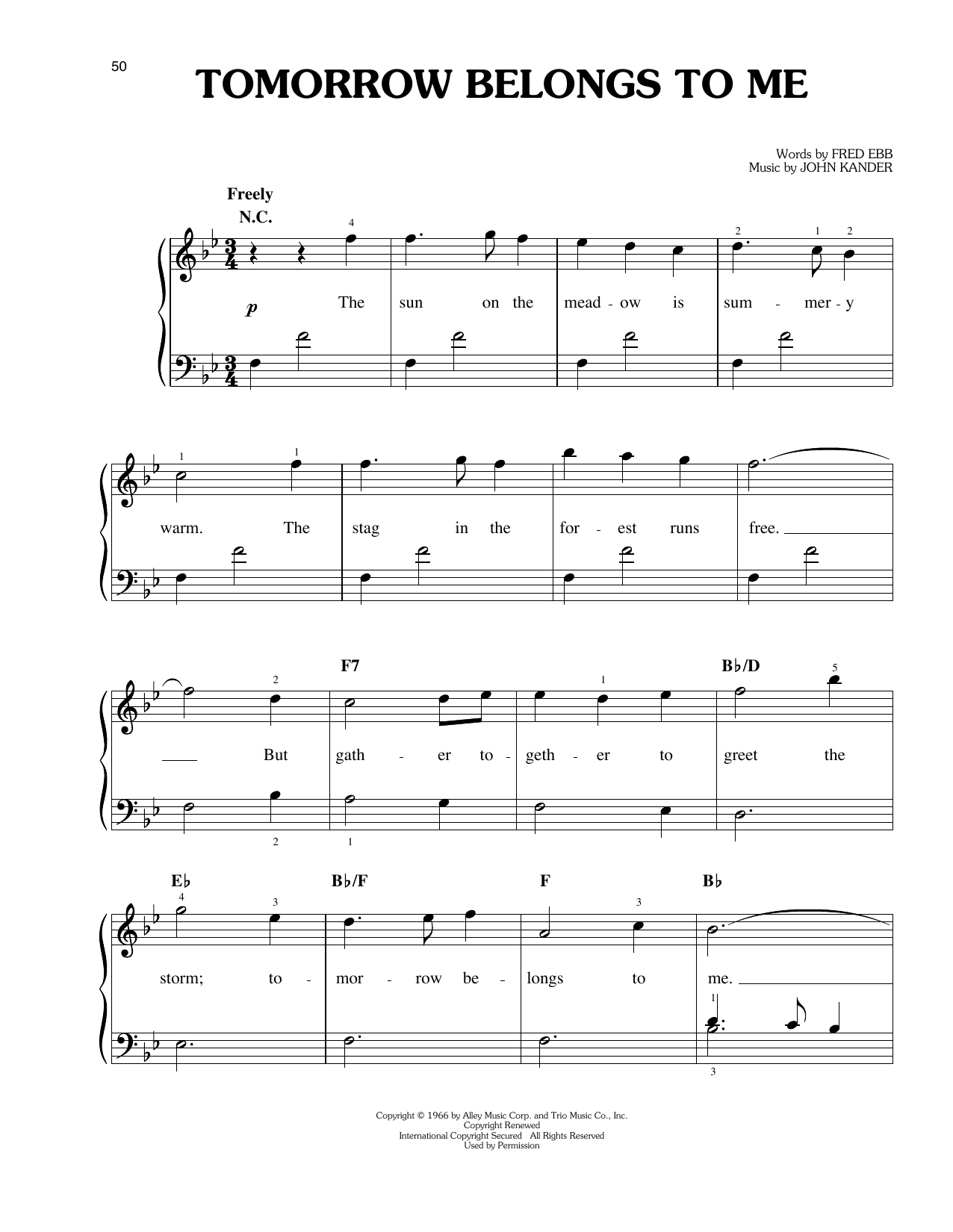 Tomorrow Belongs To Me Sheet Music