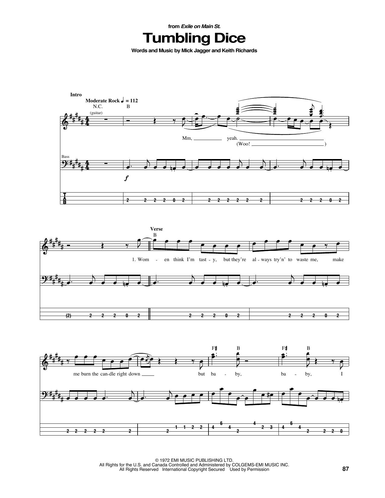 Tumbling Dice (Bass Guitar Tab)