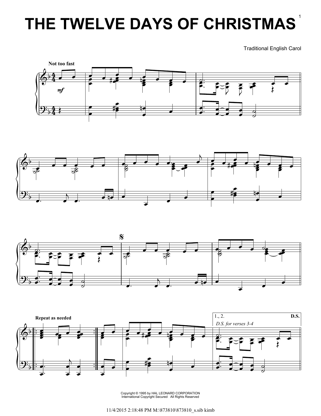 Partition piano The Twelve Days Of Christmas de Traditional English Carol - Piano Solo