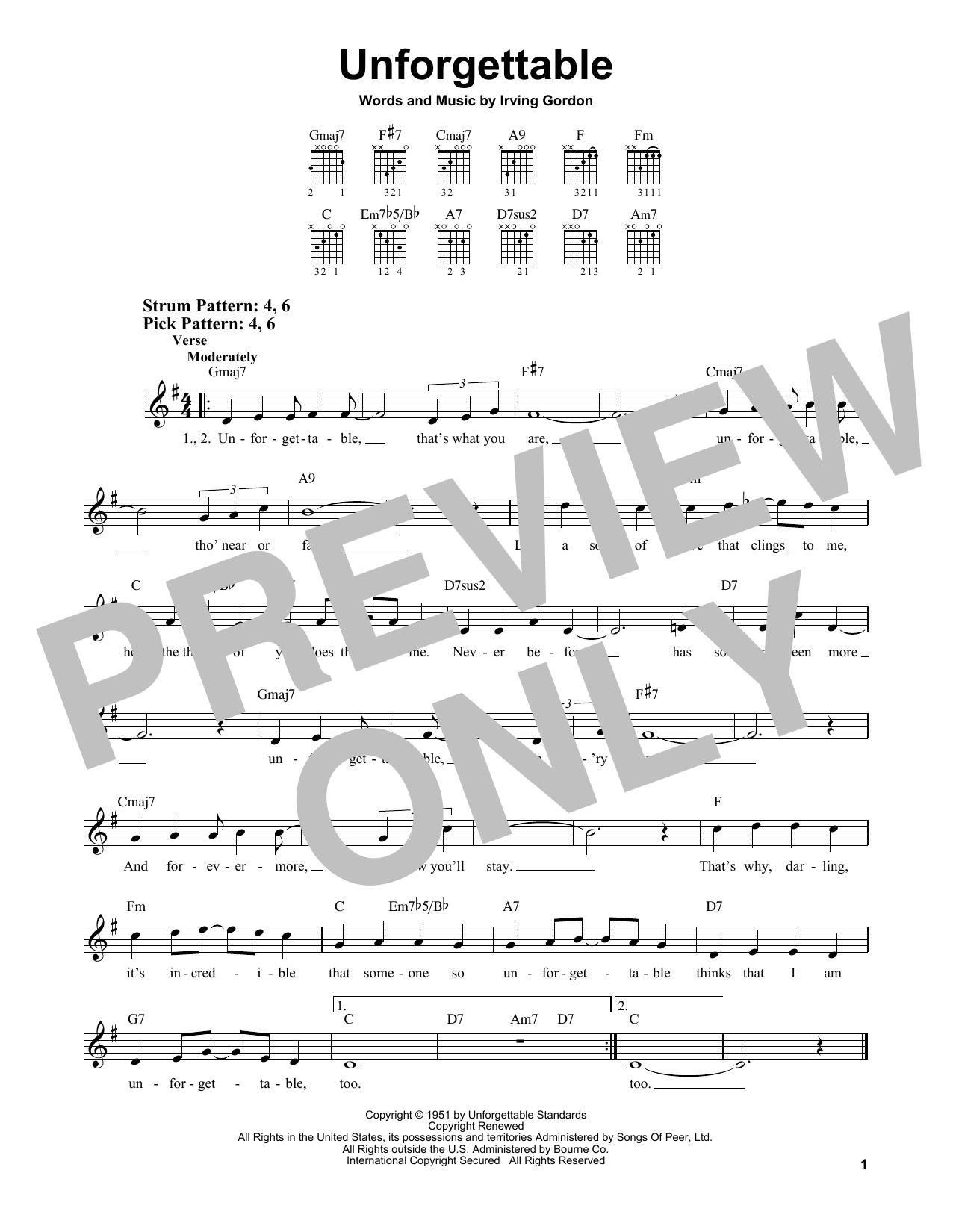 Unforgettable (Easy Guitar)