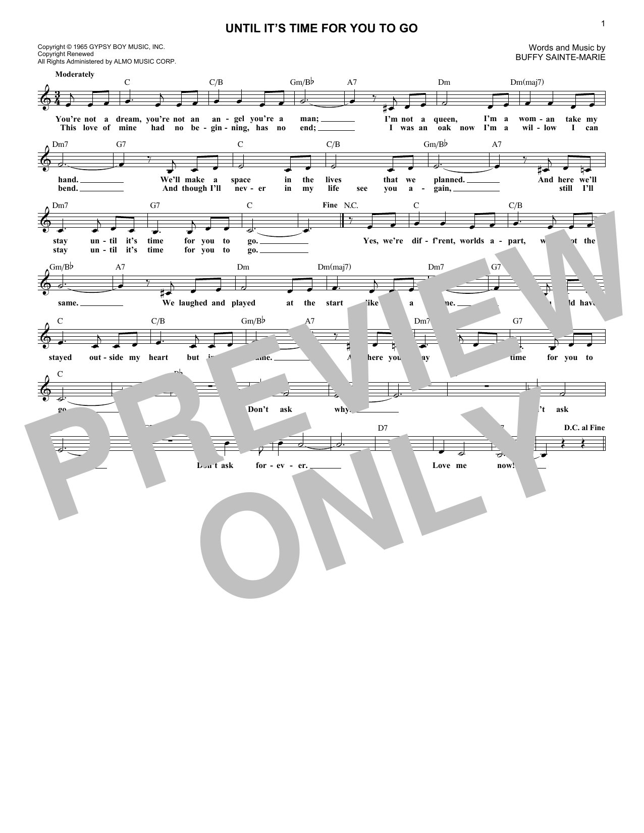 Until It's Time For You To Go (Lead Sheet / Fake Book)