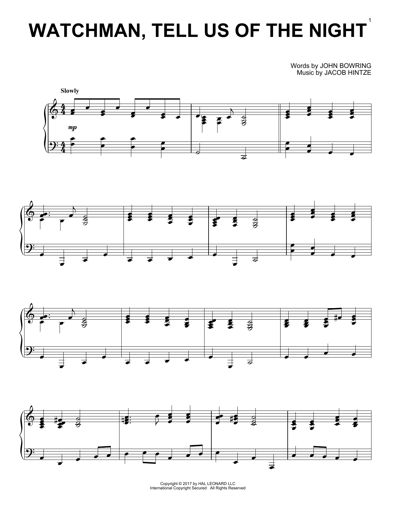 Watchman, Tell Us Of The Night (Piano Solo)