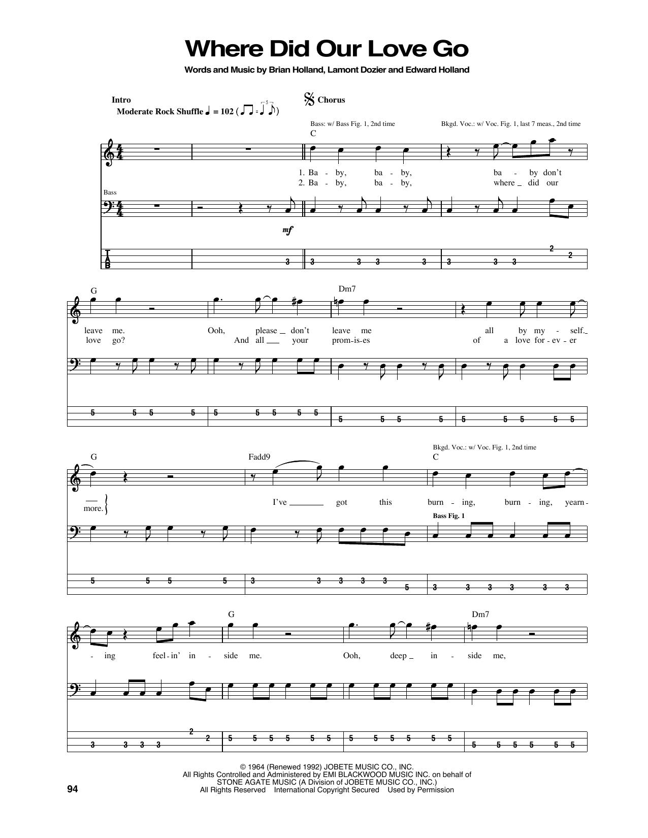 Where Did Our Love Go (Bass Guitar Tab)