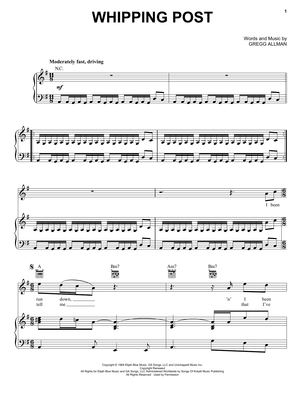 Whipping Post (Piano, Vocal & Guitar (Right-Hand Melody))