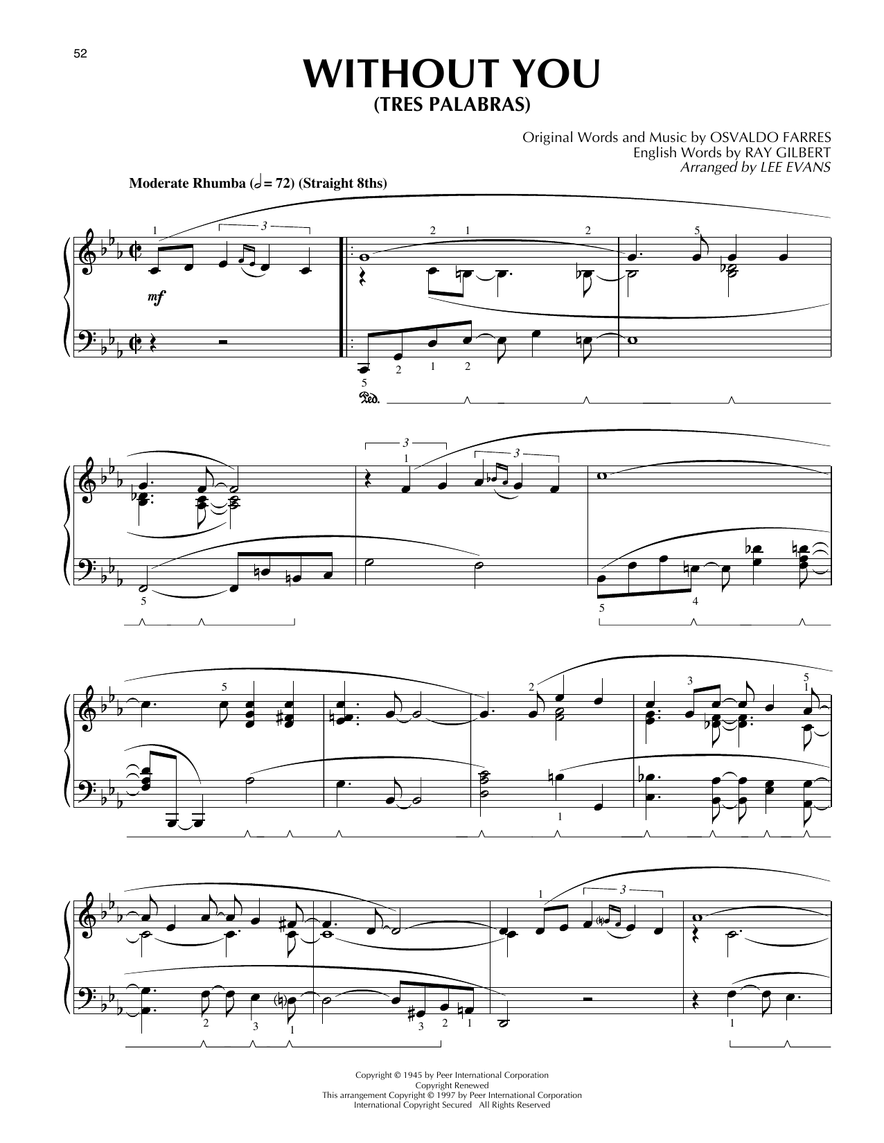 Tres Palabras (Without You) (Piano Solo)