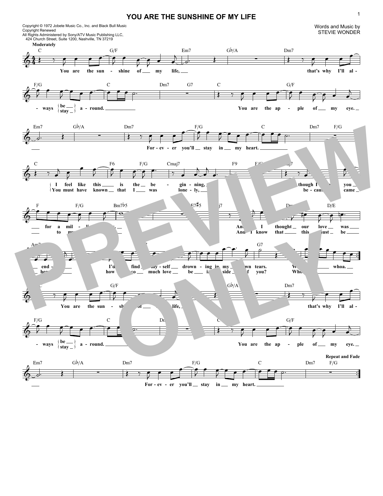 You Are The Sunshine Of My Life (Lead Sheet / Fake Book)