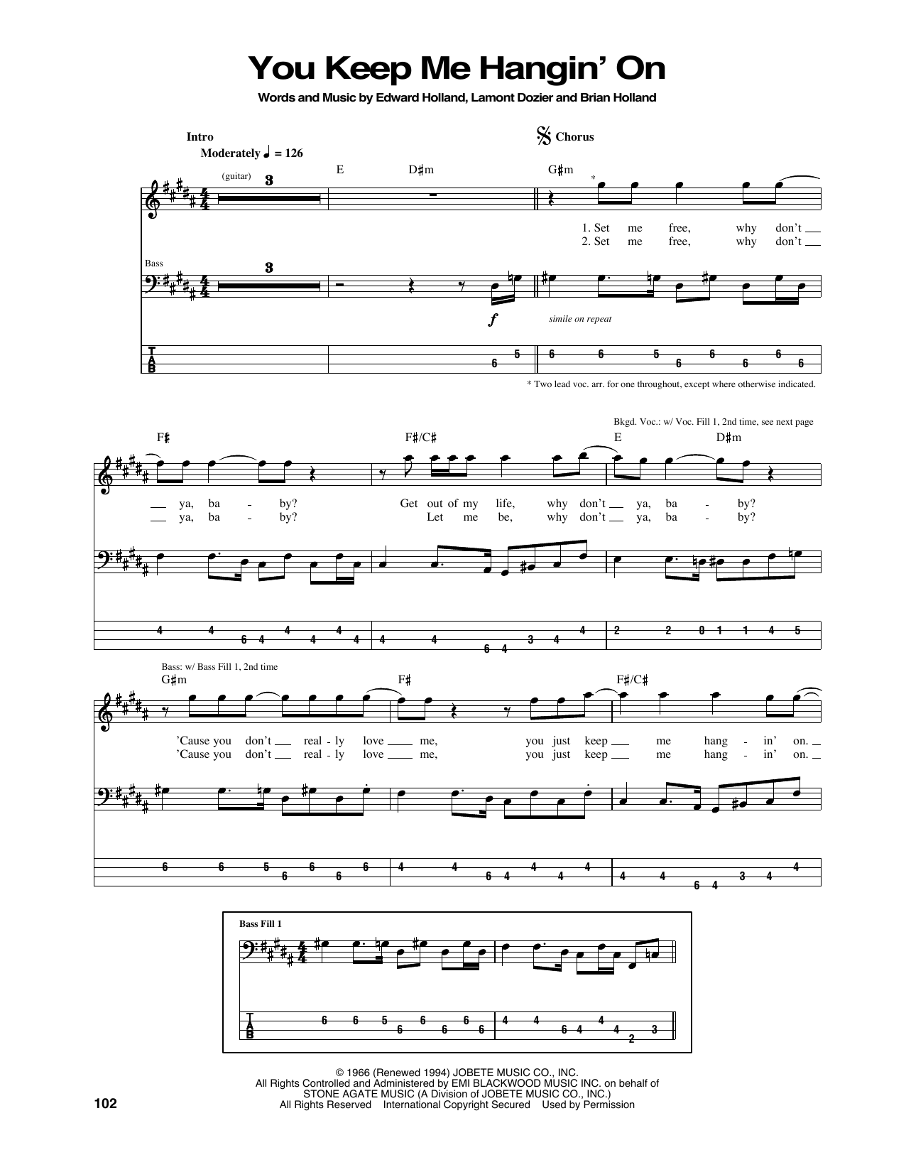 You Keep Me Hangin' On (Bass Guitar Tab)