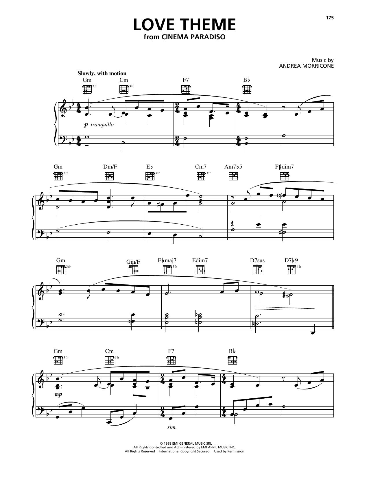Partition piano Love Theme (Tema D'Amore) (from Cinema Paradiso) de Ennio Morricone - Piano Solo