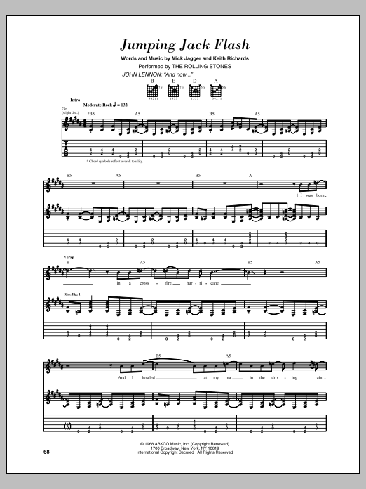 Jumping Jack Flash Sheet Music | The Rolling Stones ...
