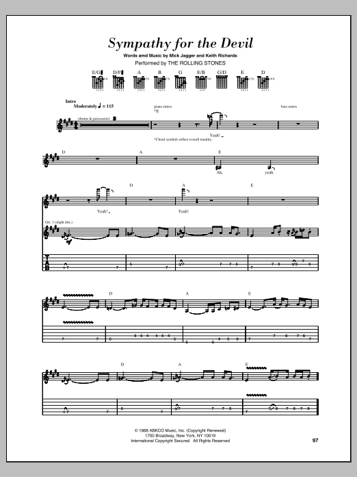 Tablature guitare Sympathy For The Devil de The Rolling Stones - Tablature Guitare