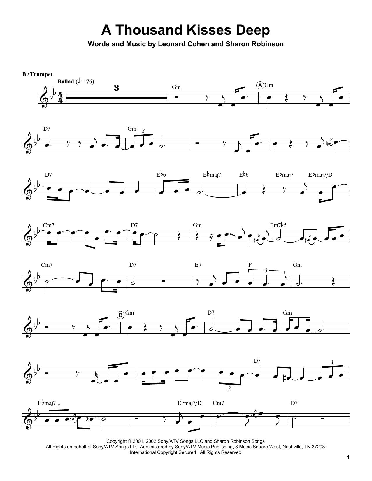 A Thousand Kisses Deep Sheet Music