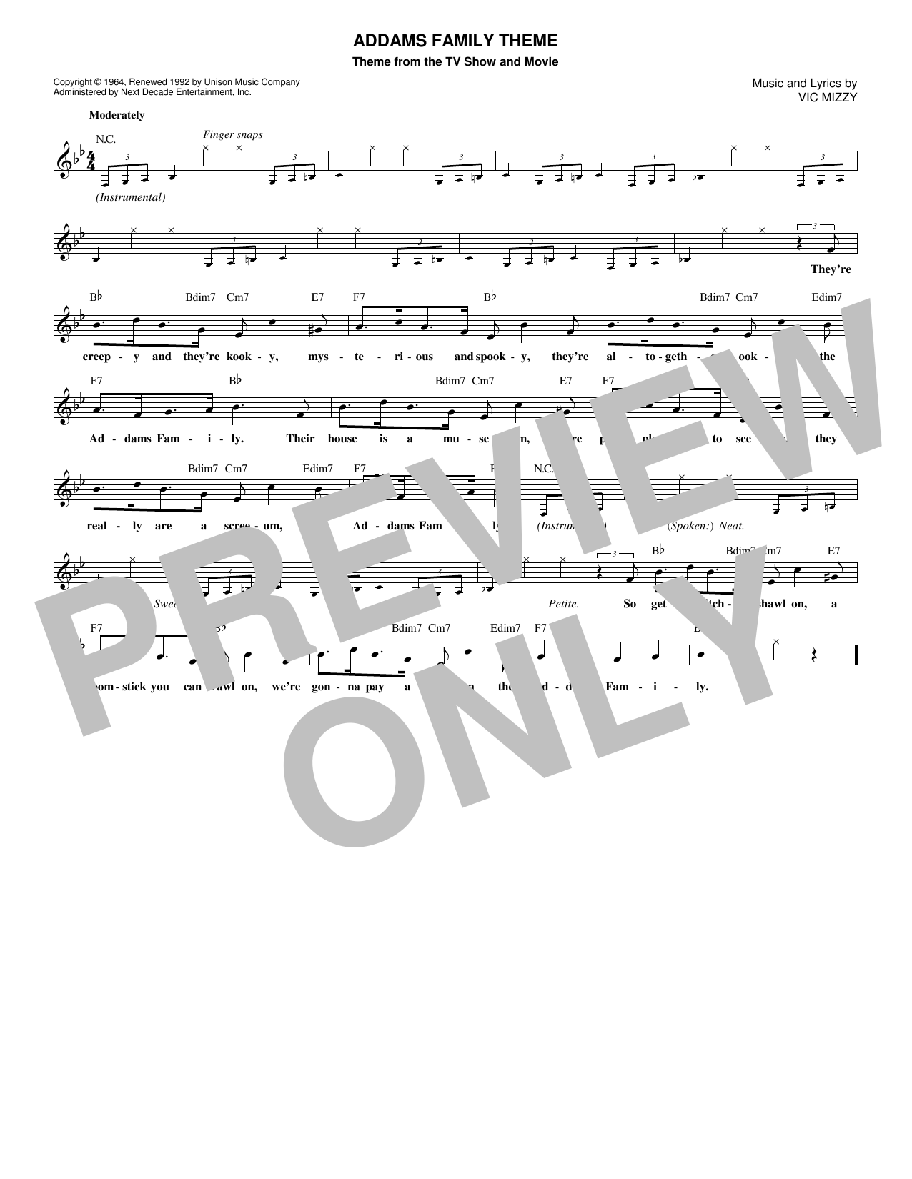 Addams Family Theme Sheet Music