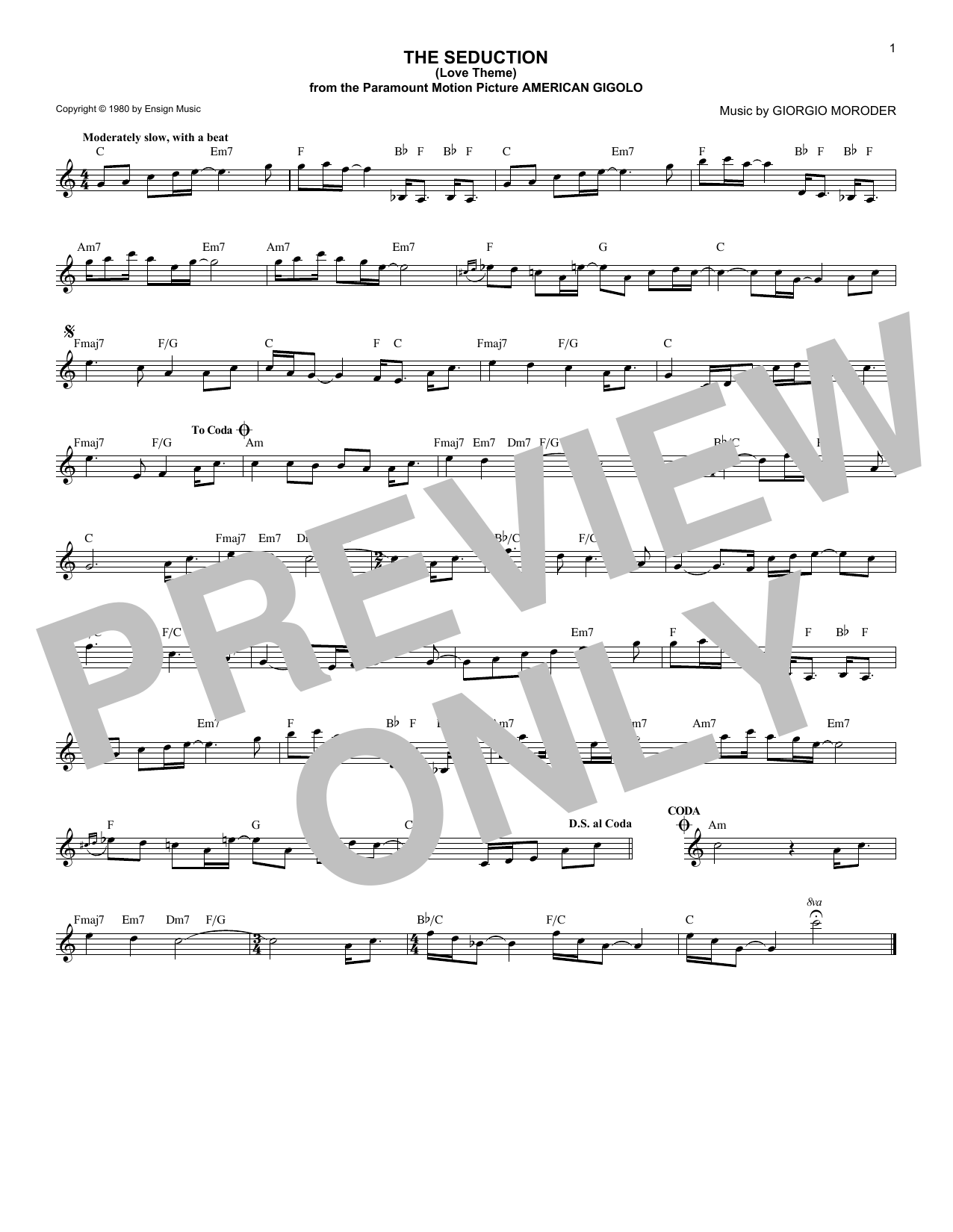 The Seduction (Love Theme) Sheet Music