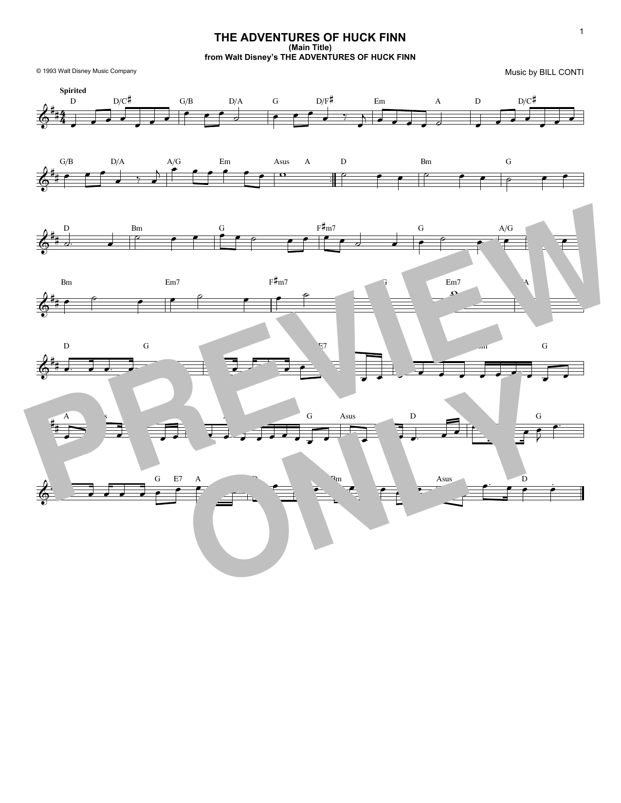 The Adventures Of Huck Finn (Main Title) Sheet Music