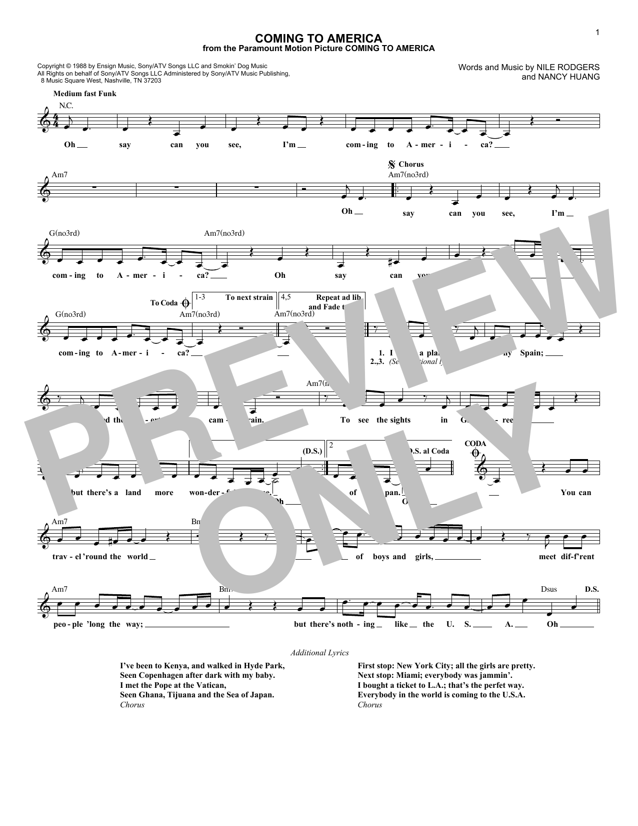 Coming To America Sheet Music