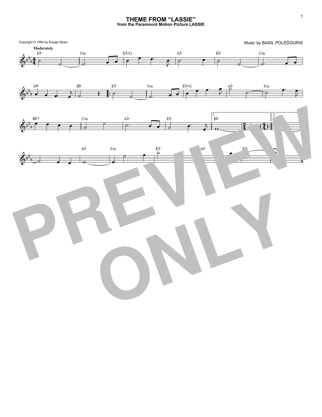 Theme From Lassie Sheet Music
