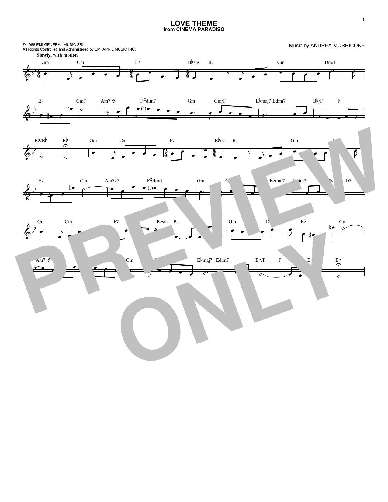 Love Theme (Tema D'Amore) Sheet Music