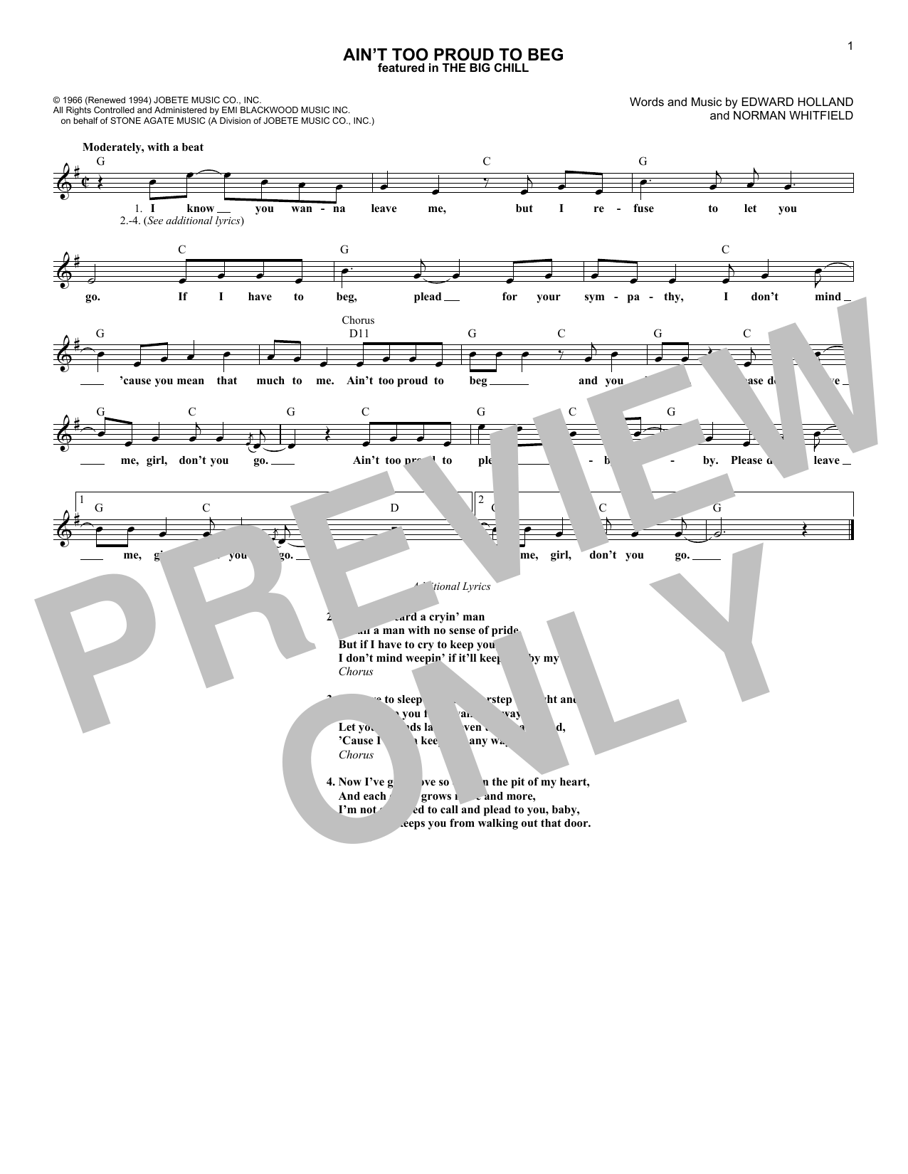 Ain't Too Proud To Beg Sheet Music