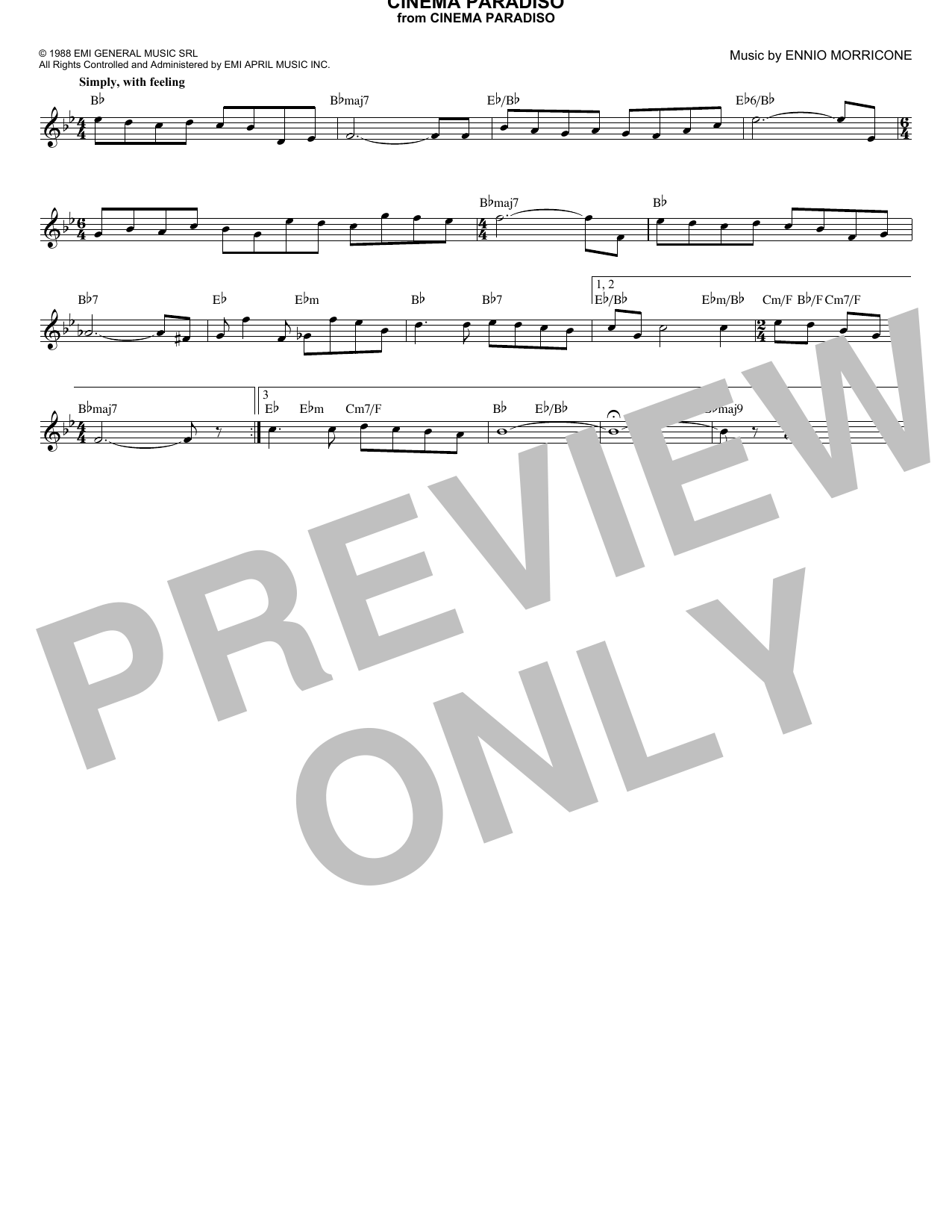Cinema Paradiso Sheet Music