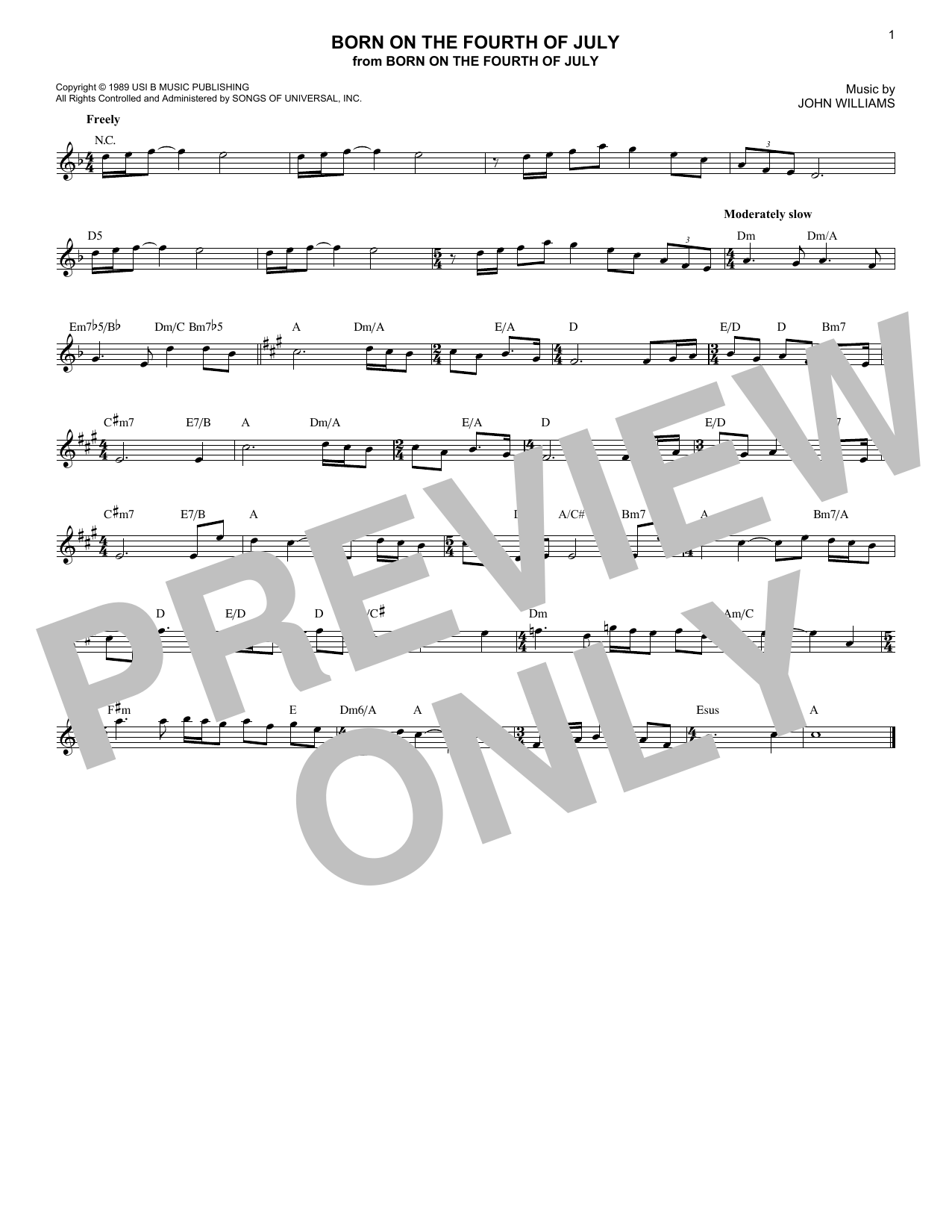 Born On The Fourth Of July Sheet Music