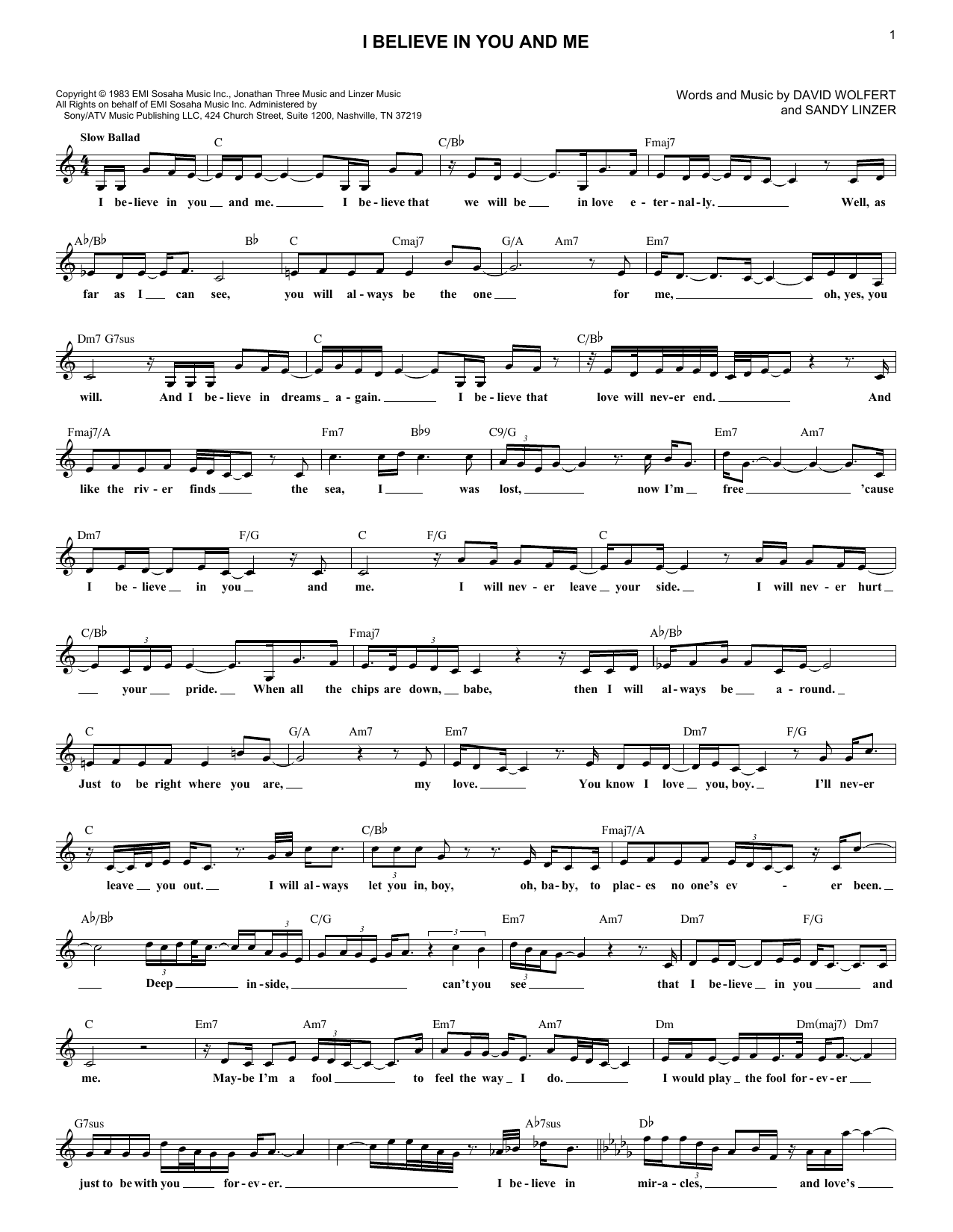 I Believe In You And Me (Lead Sheet / Fake Book)