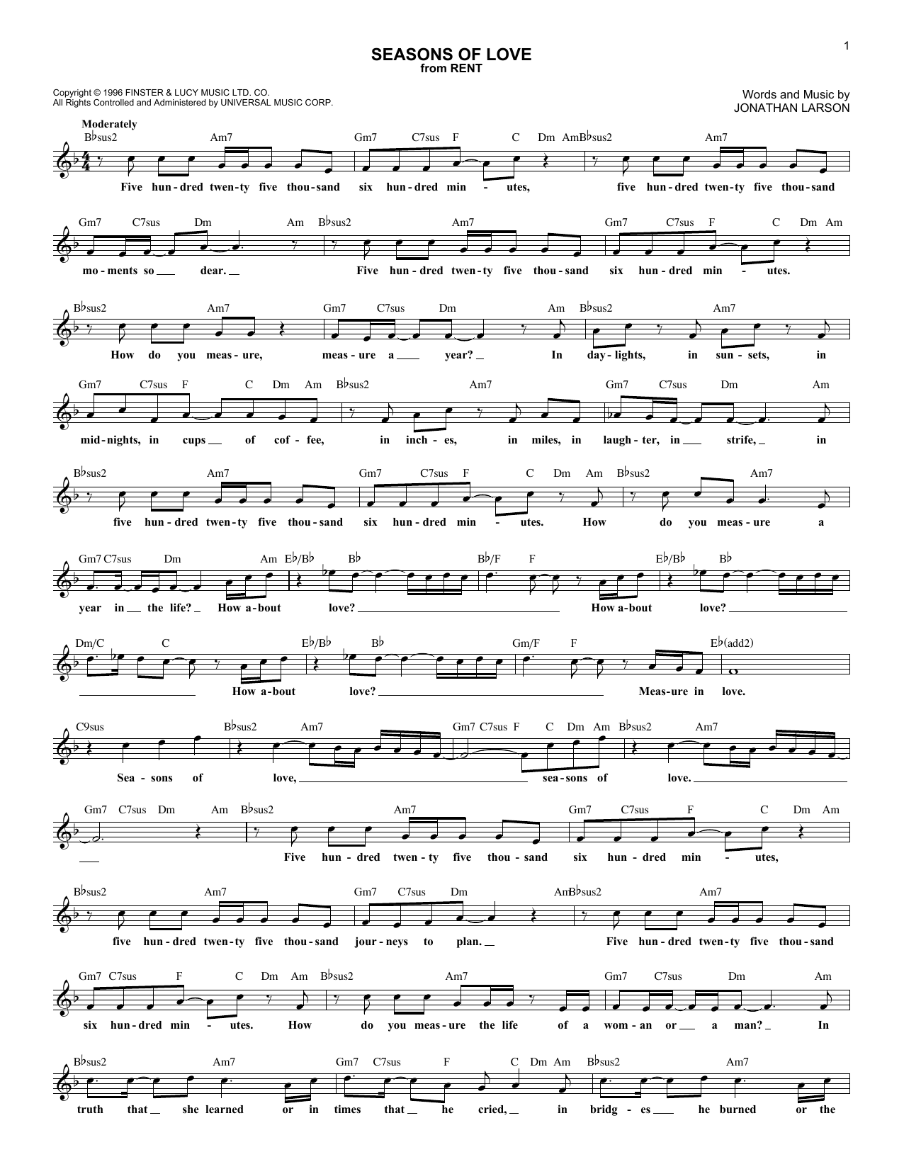 Seasons Of Love (from Rent) (Lead Sheet / Fake Book)