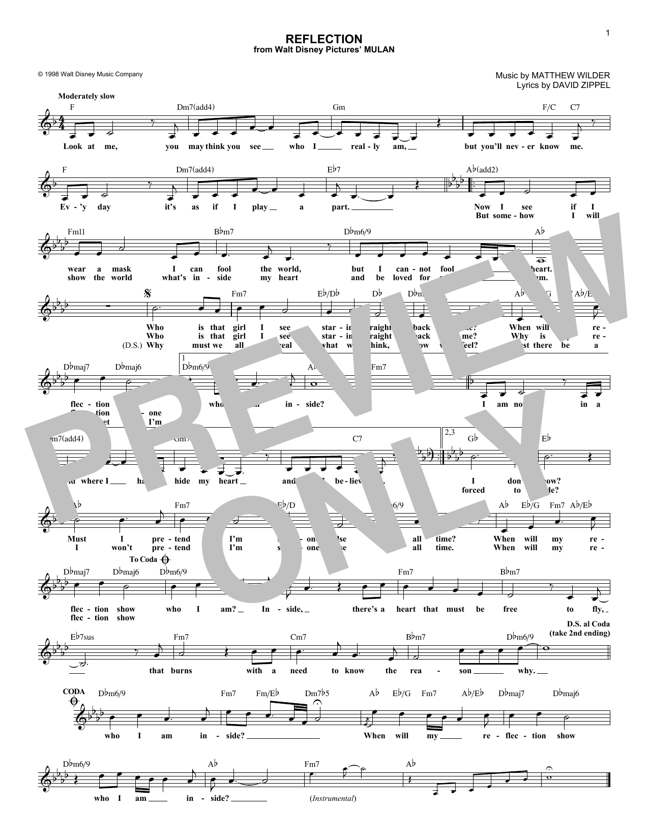 Reflection (Pop Version) (from Mulan) (Lead Sheet / Fake Book)