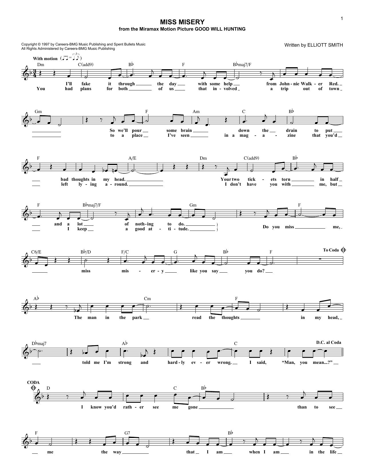 Miss Misery (Lead Sheet / Fake Book)