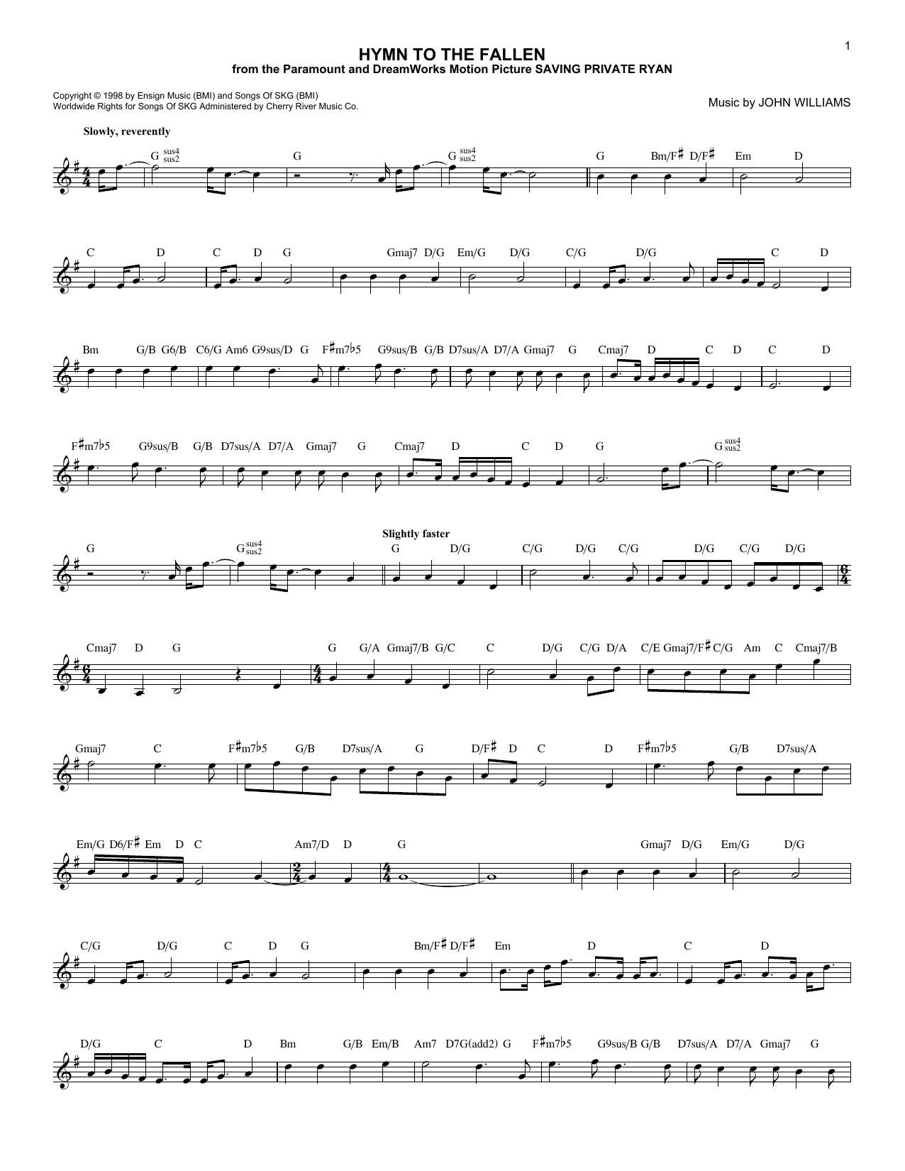 Hymn To The Fallen Sheet Music