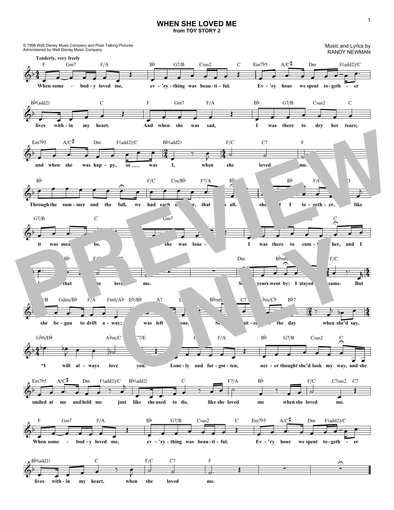 When She Loved Me (from Toy Story 2) (Lead Sheet / Fake Book)